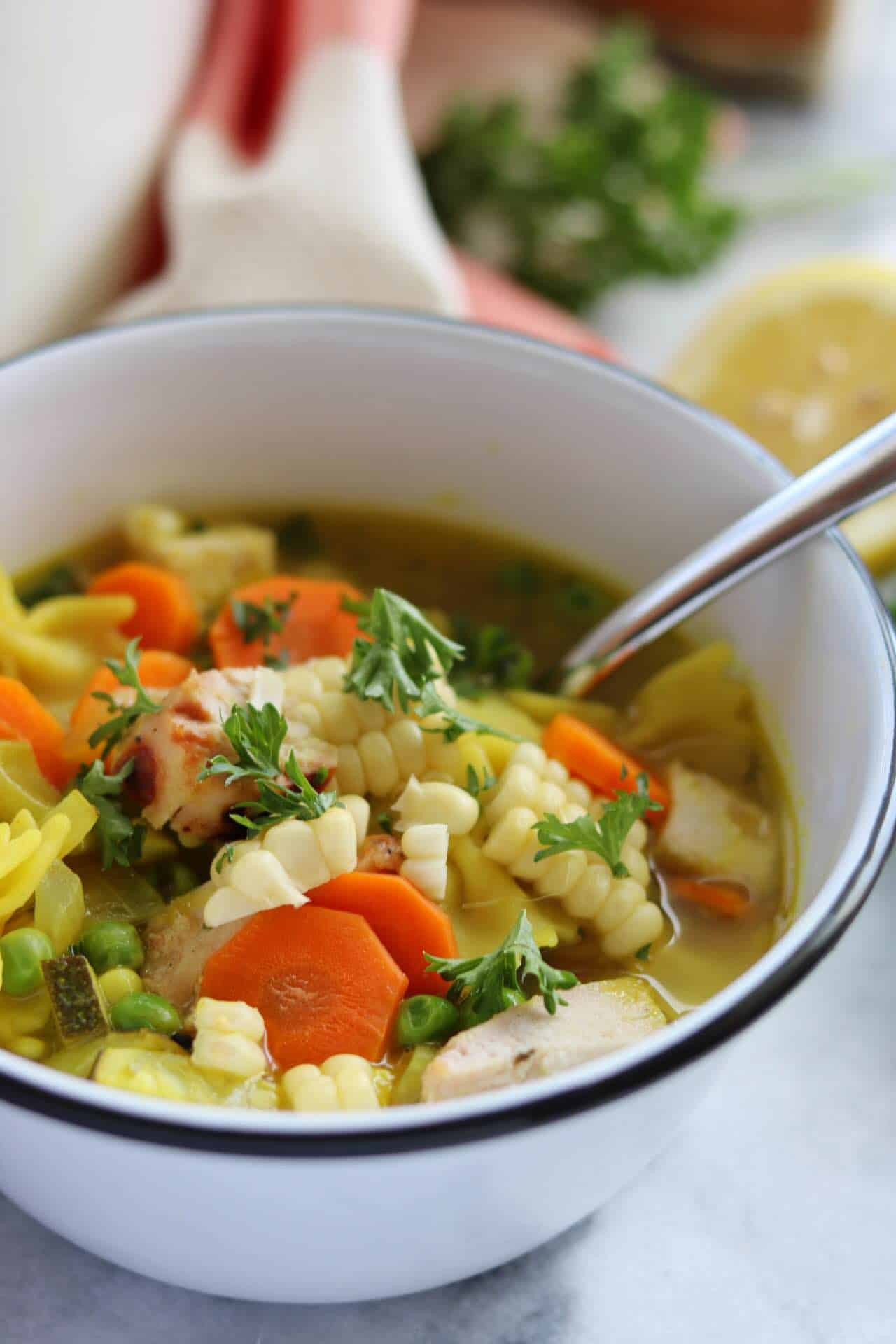 Summer Chicken Soup  Summer Grilled Lemon Chicken and Ve able Soup