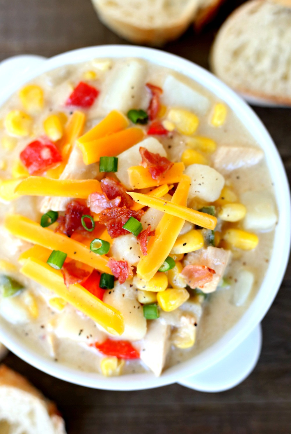 Summer Corn Chowder Panera  Corn Chowder with Potatoes and Chicken Happy Go Lucky