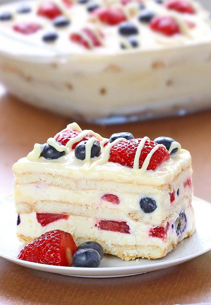 Summer Dessert Idea  No Bake Summer Berry Icebox Cake Cakescottage