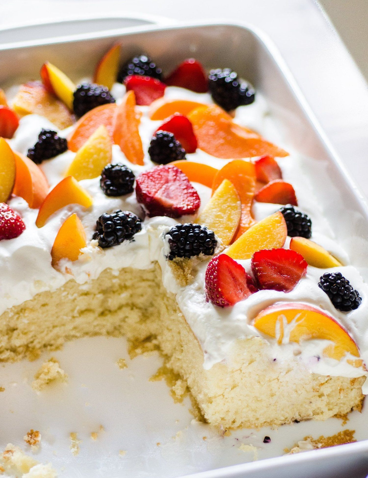 Summer Dessert Ideas  Easy Summer Cake with Fruit & Cream Recipe