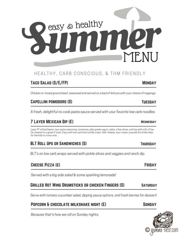 Summer Dinner Menu  THM Summer Menu Easy Dinners