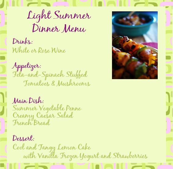 Summer Dinner Menu  Light summer dinner recipes and ideas for a summer dinner