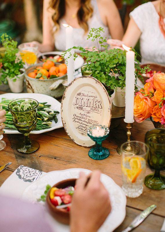 Summer Dinner Menu  Summer backyard wedding dinner party inspiration
