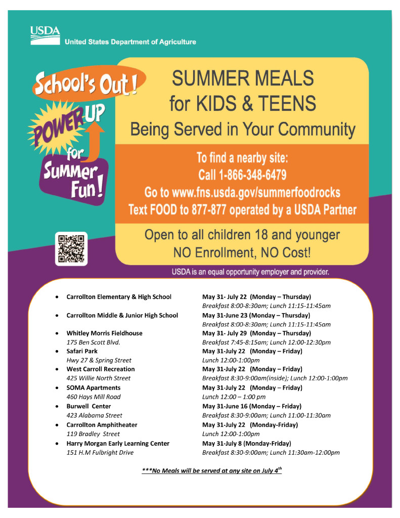 Summer Dinners For Kids  Summer Meals for Kids & Teens carrolltonhousingauthority