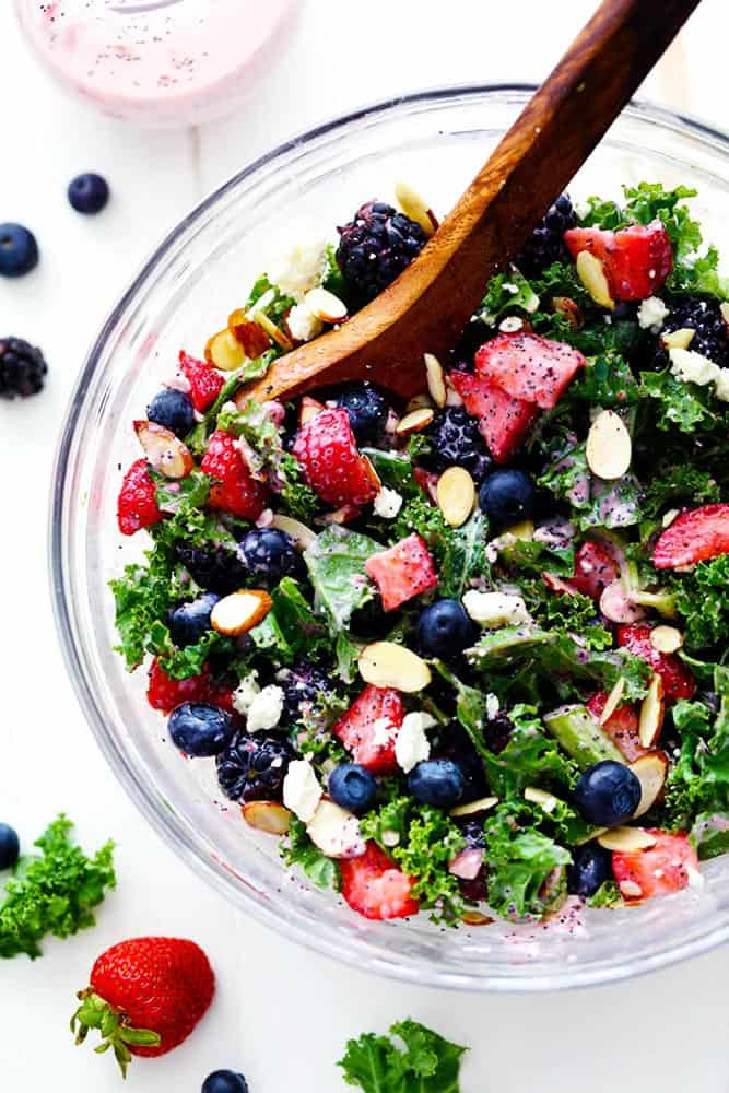 Summer Kale Recipes  Triple Berry Kale Salad with Creamy Strawberry Poppyseed