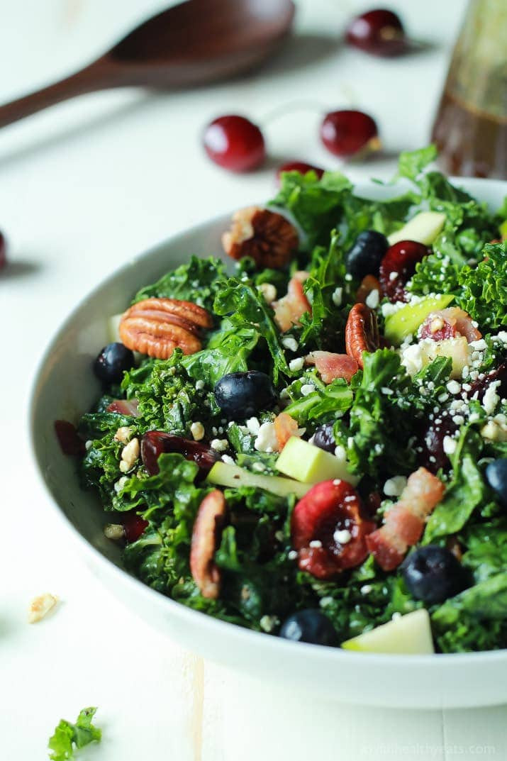 Summer Kale Recipes  Cherry Summer Kale Salad with Balsamic Vinaigrette