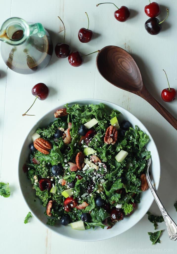 Summer Kale Salad Recipes  Cherry Summer Kale Salad with Balsamic Vinaigrette