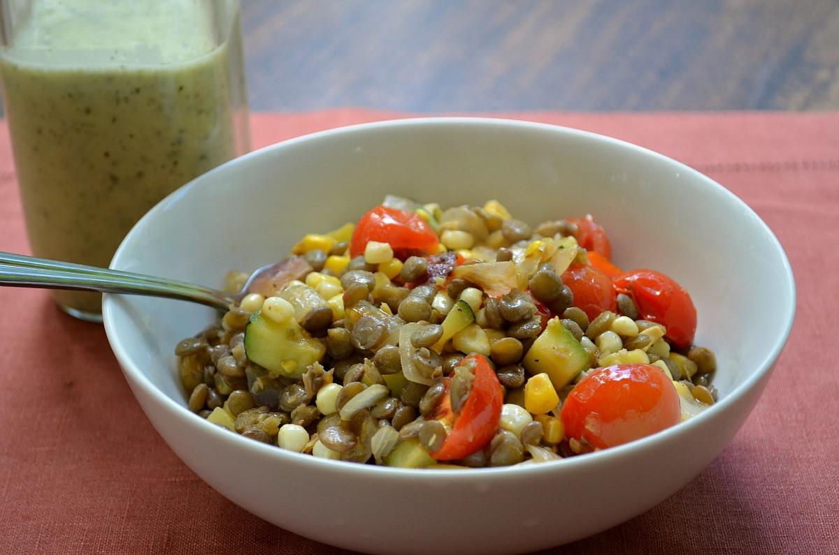 Summer Lentil Recipes  Warm Summer Ve able Lentil Salad with Lemon Oregano