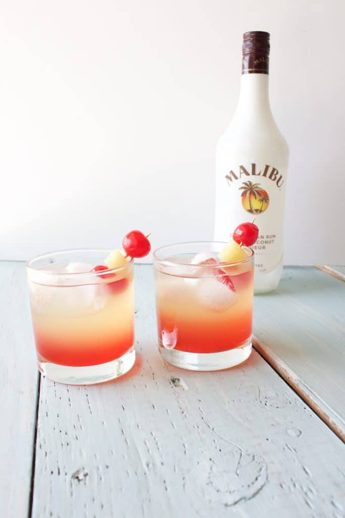 Summer Mixed Drinks With Rum  Malibu Sunset Cocktail Recipe Homemade Food Junkie