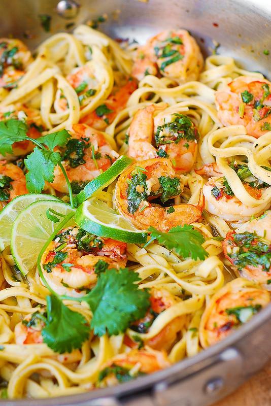 Summer Pasta Dinners  Cilantro Lime Shrimp Scampi Pasta Julia s Album