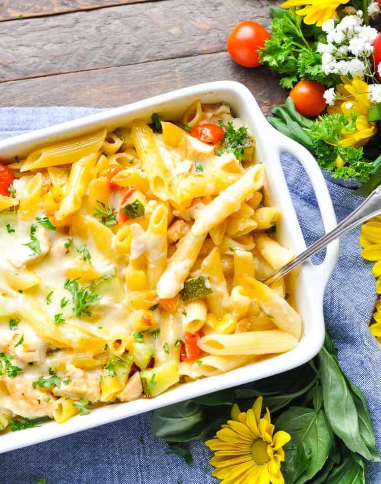Summer Pasta Dinners  Dump and Bake Summer Pasta with Zucchini Corn & Chicken