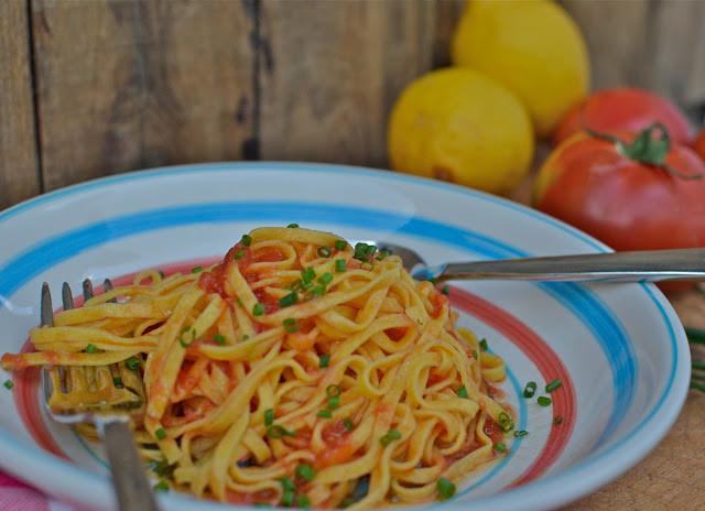 Summer Pasta Sauces  La Tavola Marche Simple Summer Pasta Sauce Raw Tomato