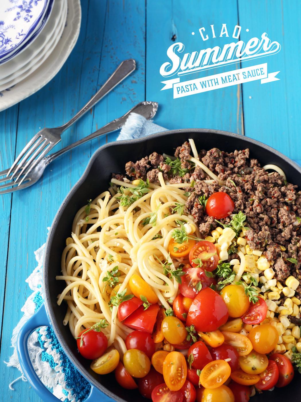 Summer Pasta Sauces  Ciao Summer Pasta with Meatsauce