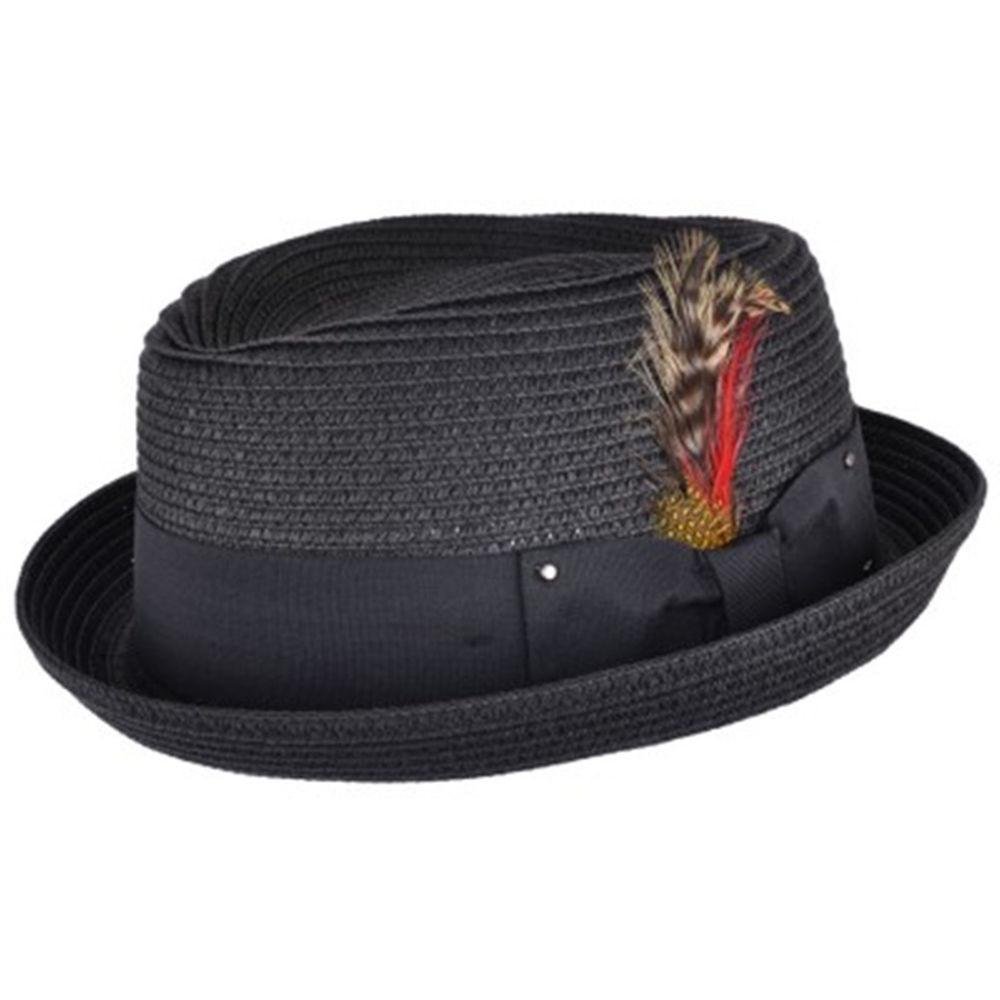 Summer Pork Pie Hat  Mens La s Black Packable Straw Summer Pork Pie Hat With