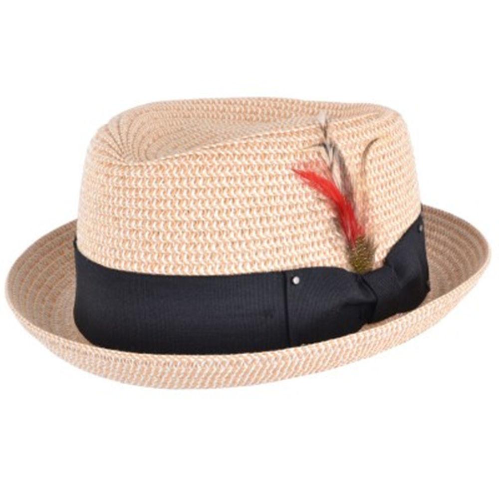 Summer Pork Pie Hat  Mens La s Natural Packable Straw Summer Pork Pie Hat
