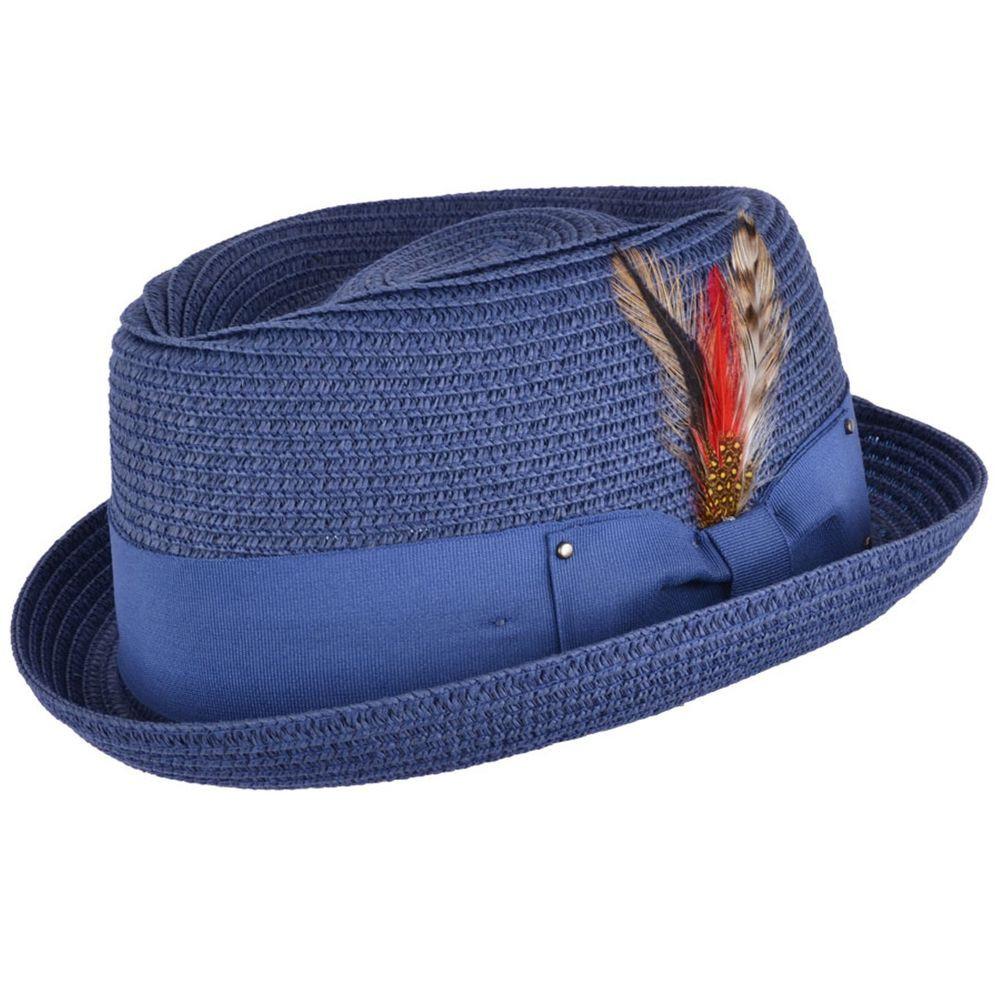 Summer Pork Pie Hat  Mens La s Denim Blue Packable Straw Summer Pork Pie Hat