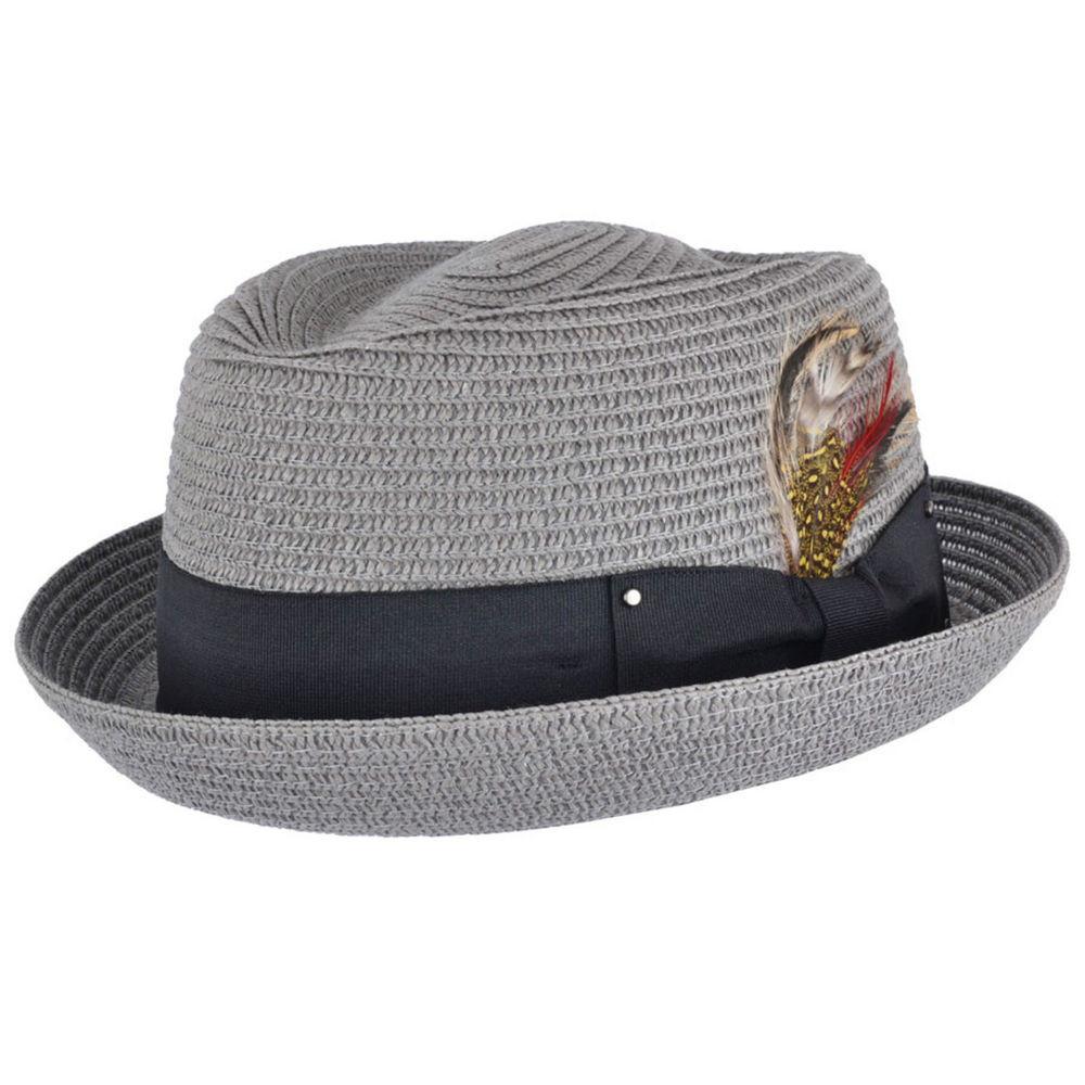 Summer Pork Pie Hat  UNI Crushable Straw Summer Pork Pie Trilby Hat With