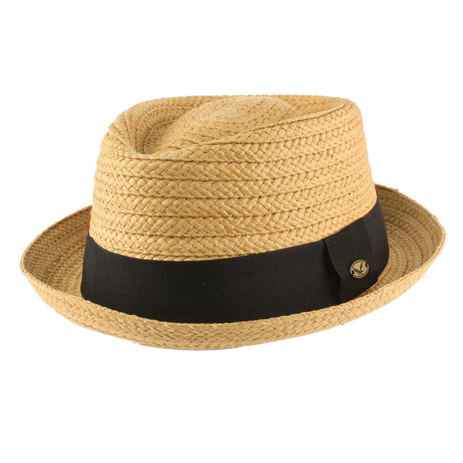 Summer Pork Pie Hat  Men s Summer Braid Straw Pork Pie Derby Fedora Upturn Brim Hat