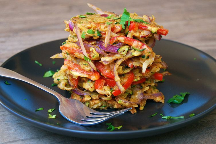 Summer Recipes Indian  Indian Spiced Leftover Summer Ve able Fritters Recipe on