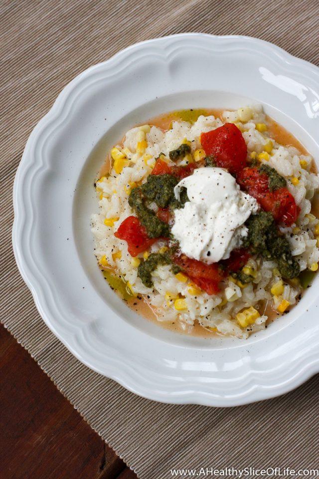 Summer Risotto Recipes  Summer Risotto with Roasted Corn Pesto & Burrata