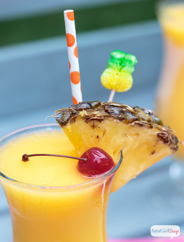 Summer Rum Drinks  Tropical Frozen Lemonade with Pineapple Rum Atta Girl Says