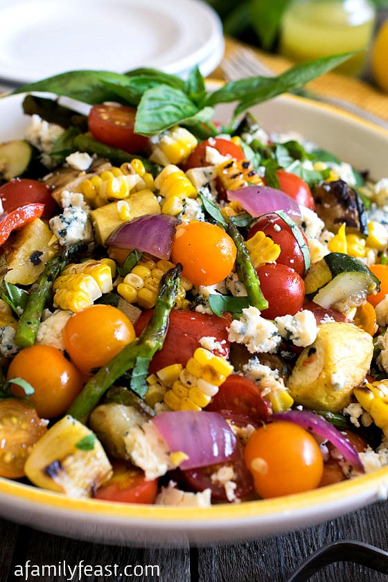 Summer Salad Recipes Vegetarian  Grilled Summer Ve able Salad A Family Feast