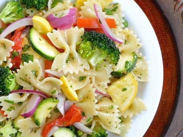 Summer Salad Recipes Vegetarian  Summer Ve able Pasta Salad Bud Bytes