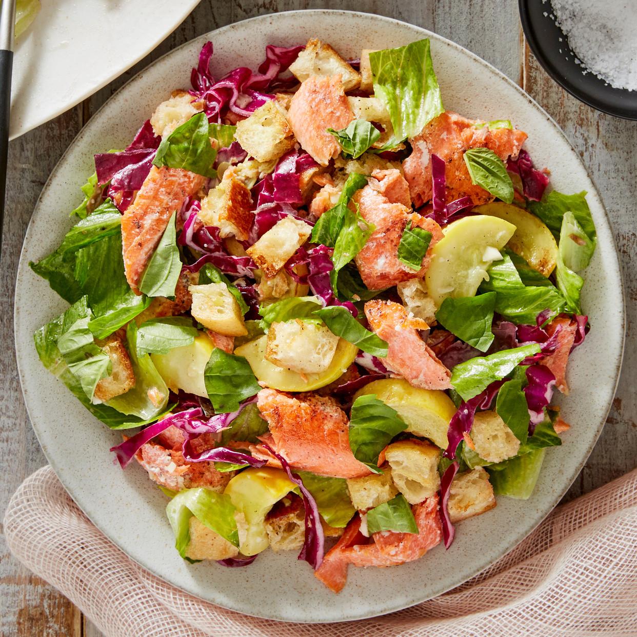 Summer Salmon Salad  Recipe Salmon Caesar Salad with Parmesan Croutons