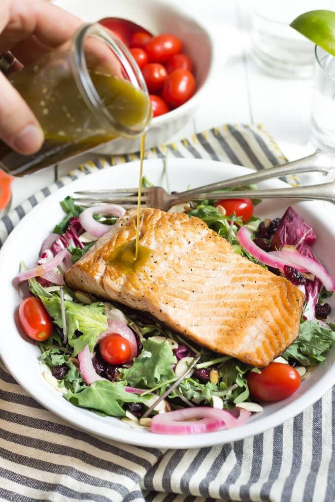 Summer Salmon Salad  Summer Salmon Salad with Basil Vinaigrette Wicked Spatula