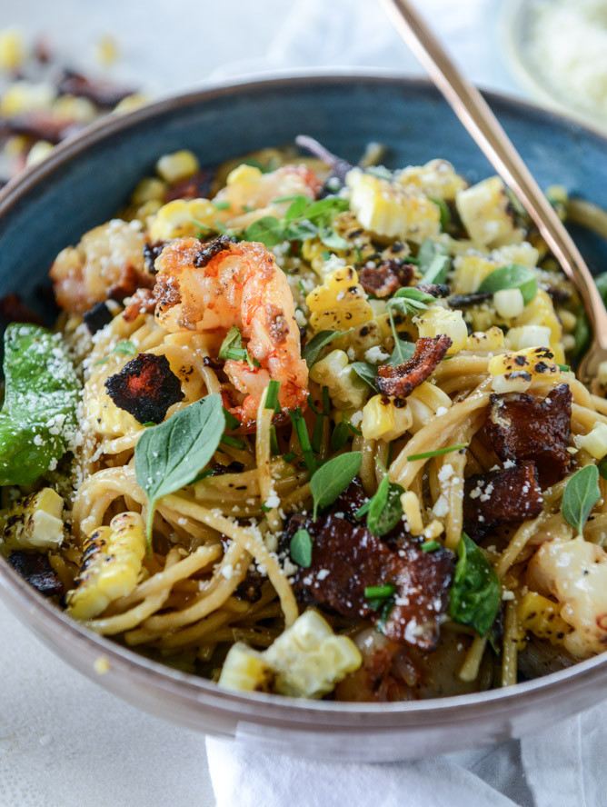 Summer Shrimp Pasta  Summer Shrimp and Charred Corn Pasta Carbonara