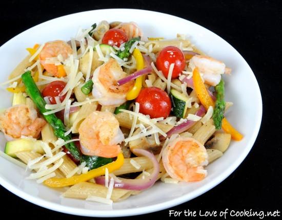 Summer Shrimp Pasta  Summer Veggies with Pasta and Shrimp