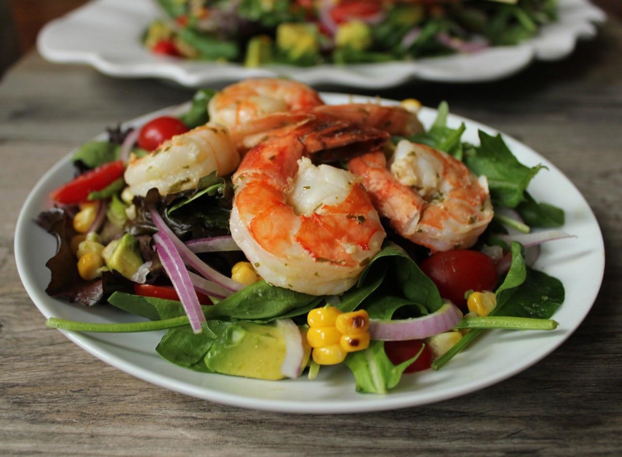 Summer Shrimp Salad  Summer Salad with Avocado Corn and Grilled Herb Shrimp