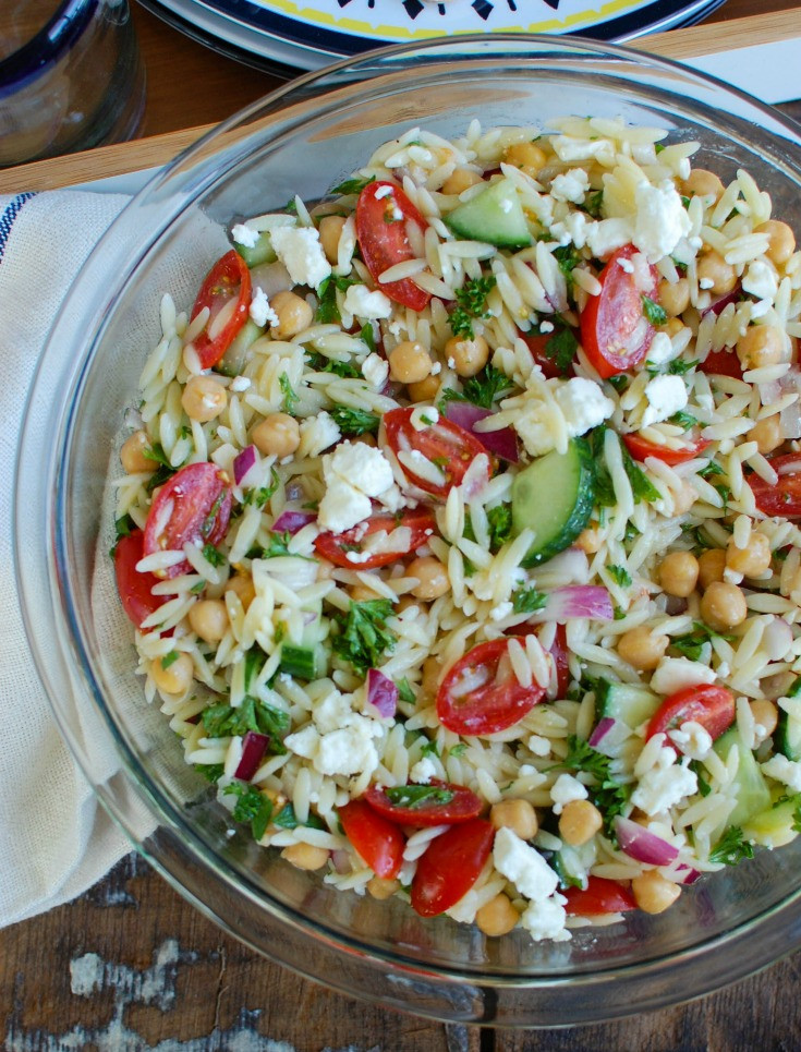 Summer Side Dishes For A Crowd  Summer Orzo Pasta Salad Recipe A Cedar Spoon