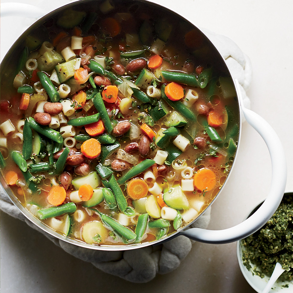 Summer Soup Recipes Vegetarian  Summer Ve able Soup with Carrot Top Pumpkin Seed Pistou