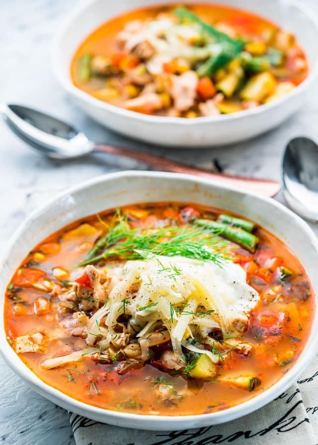 Summer Soup Recipes Vegetarian  Summer Chicken Ve able Soup Jo Cooks