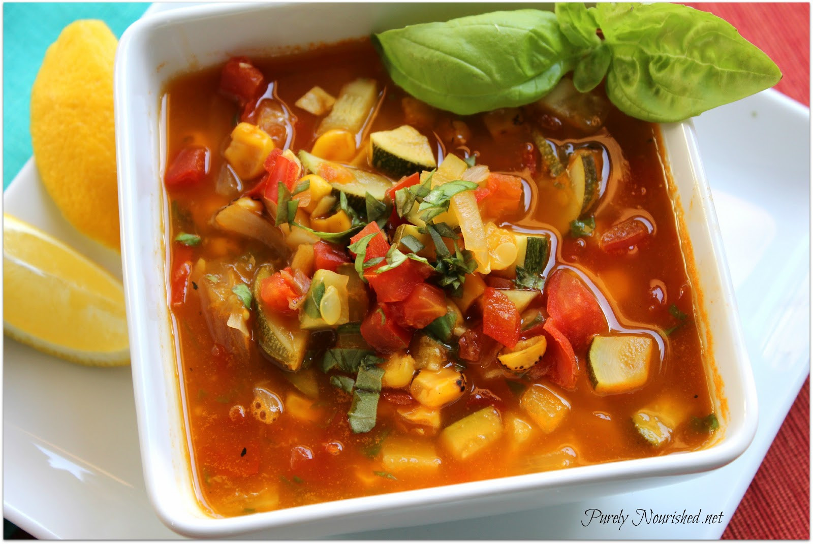 Summer Soup Recipes Vegetarian  Purely Nourished Summer Ve able Soup