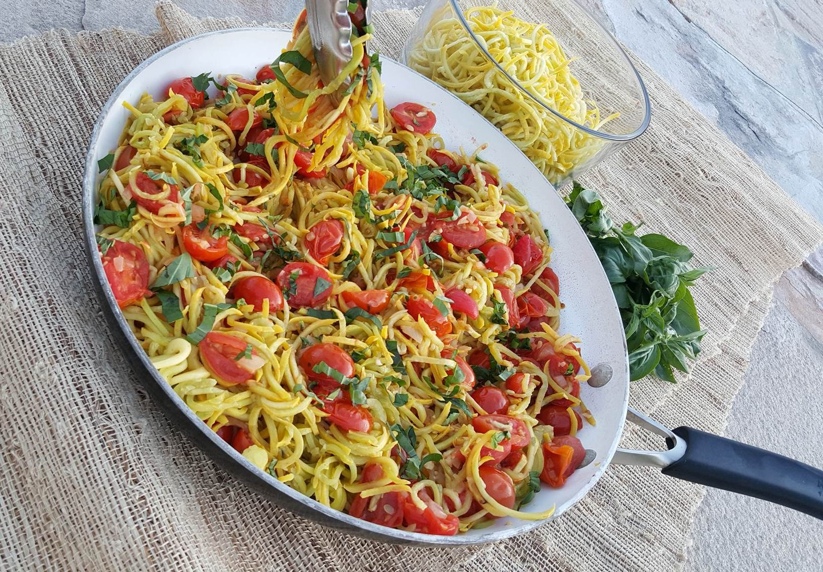 Summer Squash Noodles Recipes  Yellow Summer Squash Spaghetti with Roasted Tomato Sauce