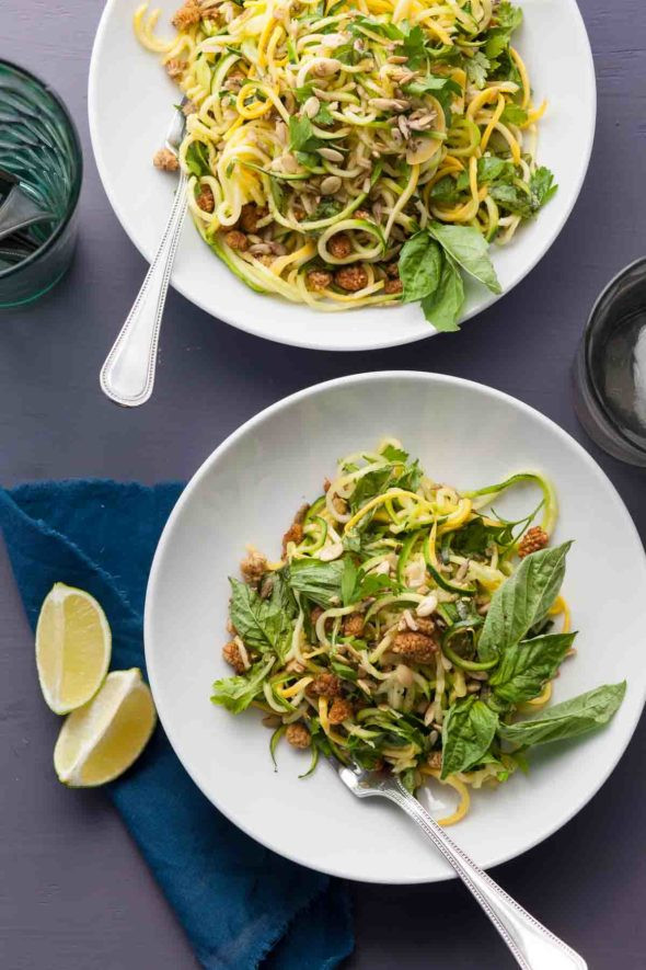 Summer Squash Noodles  Summer Squash Noodle Salad with Basil Lime Dressing