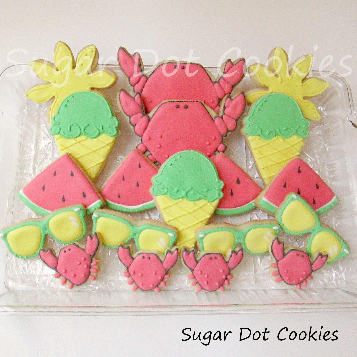 Summer Sugar Cookies  Ice cream cones watermelon wedges sunglasses the sun