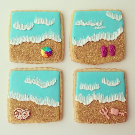 "Summer Sugar Cookies  Items similar to Summer ""At the beach"" sugar cookies on Etsy"