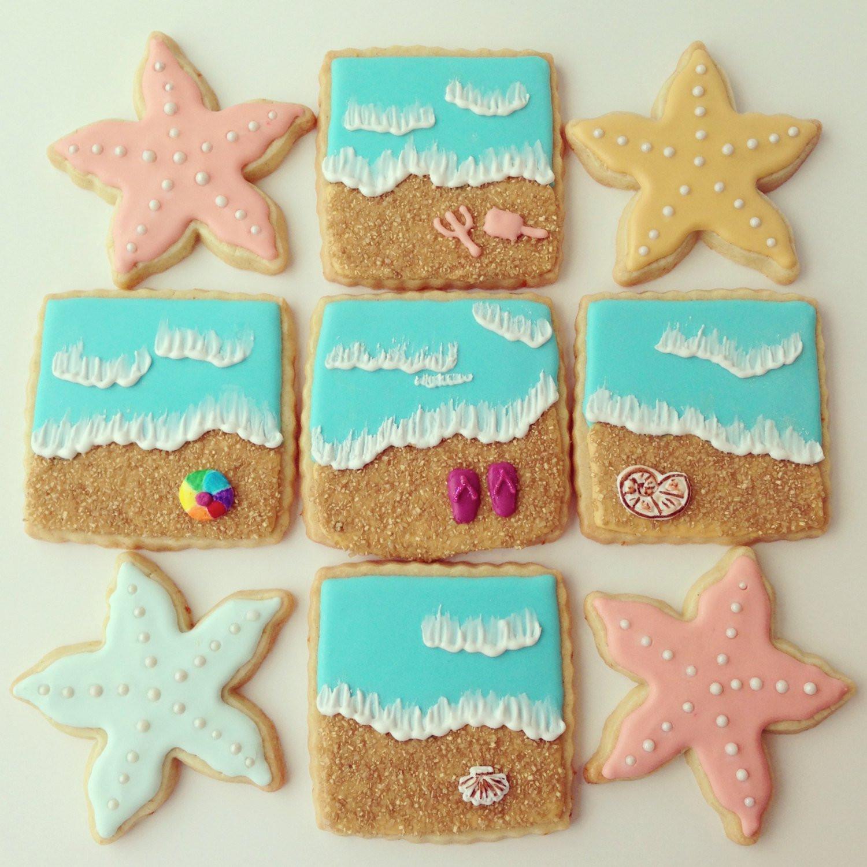 Summer Sugar Cookies  Summer At the beach sugar cookies by Askanam on Etsy