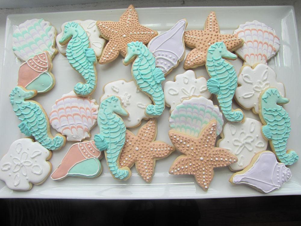 Summer Sugar Cookies  e Dozen Decorated Seashell Sugar Cookies Homemade