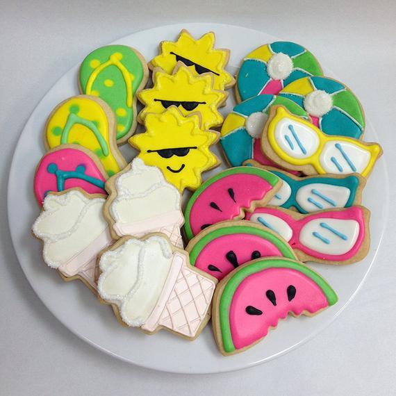 Summer Sugar Cookies  SUMMER FUN COOKIES Decorated Sugar Cookie Gift Tin 18