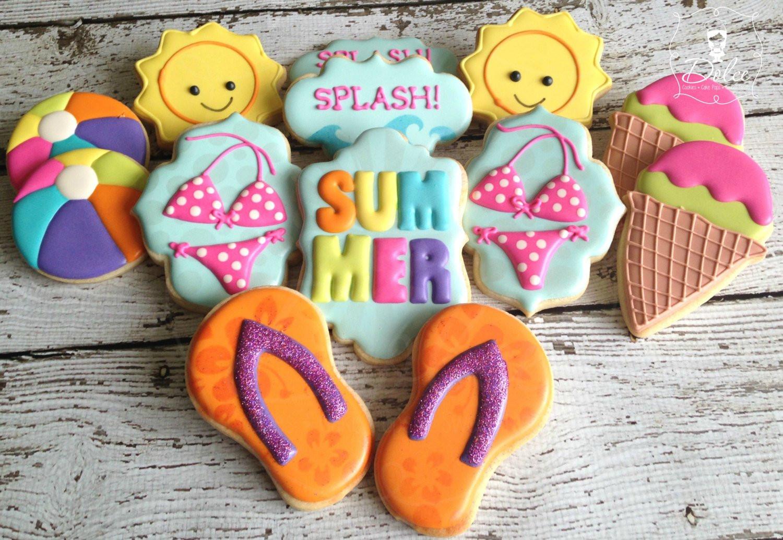 Summer Sugar Cookies  Summer Beach Pool Themed Decorated Sugar Cookies