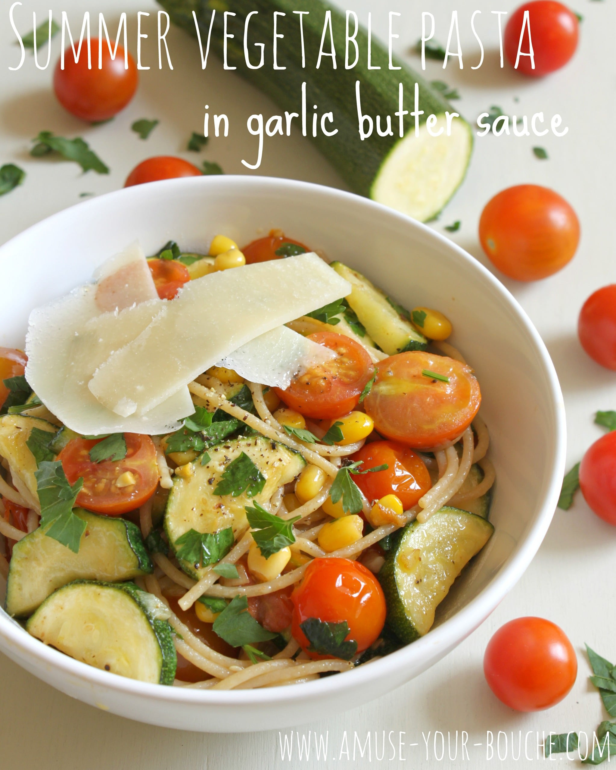 Summer Vegetarian Pasta Recipes  Summer ve able pasta in garlic butter sauce Amuse Your