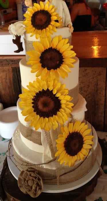 Sunflower Wedding Cakes  Rustic Sunflower Wedding Cake by Sarah CakesDecor