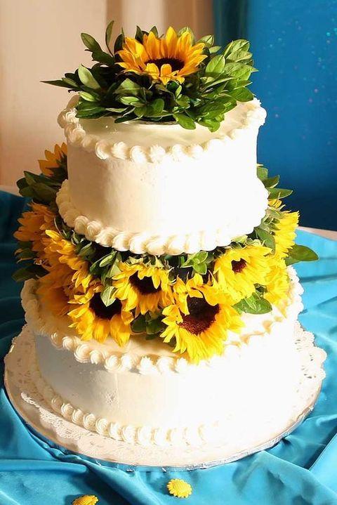 Sunflower Wedding Cakes  90 Cheerful And Bright Sunflower Wedding Ideas