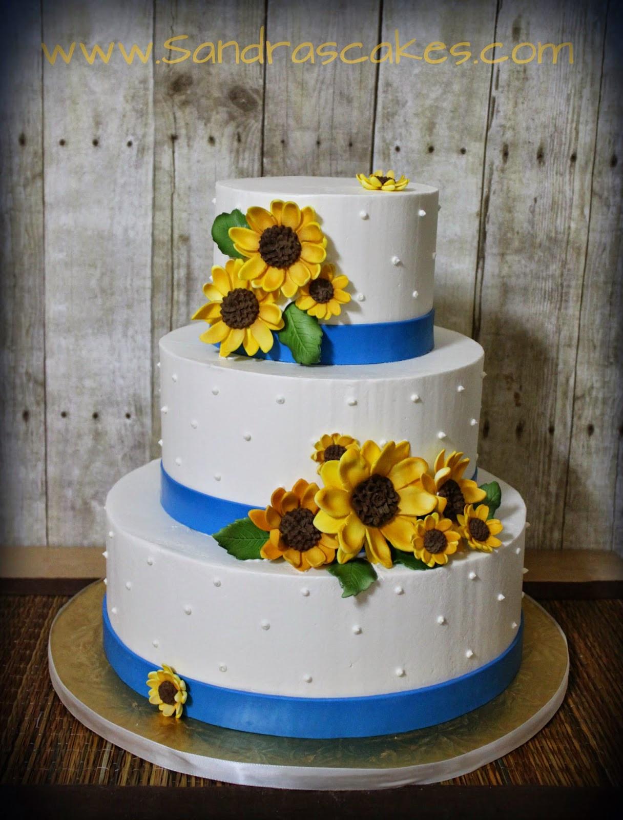 Sunflower Wedding Cakes  Classy Sunflower Themed Buttercream Wedding Cake