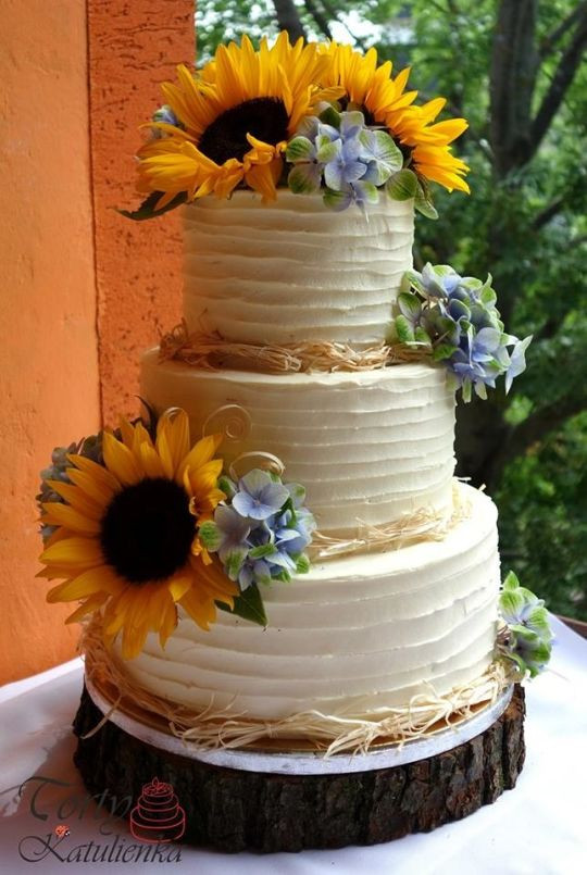 Sunflower Wedding Cakes  Sunflower wedding cake cake by Cakes by Katulienka