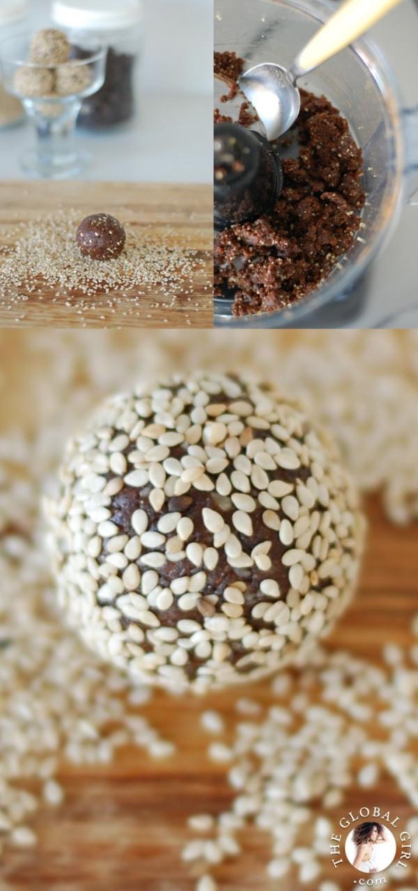 Super Healthy Dessert  Chocolate Sesame Balls This super healthy dessert is raw